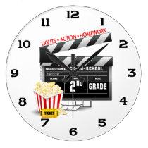 Movie Clapboard 2nd Grade Large Clock