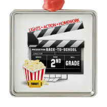 Movie Clapboard 2nd Grade Metal Ornament