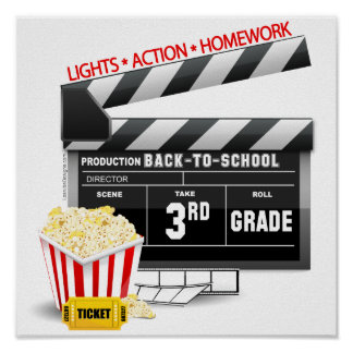 Movie Clapboard 3rd Grade Poster