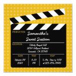 "Movie Clapboard Sweet Sixteen Birthday Invitation 5.25"" Square Invitation Card"