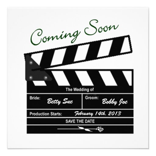 """Movie Clapboard Wedding Save the Date 5.25"""" Square ..."""