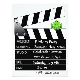 "Movie Clapper Birthday Party Invitation 4.25"" X 5.5"" Invitation Card"