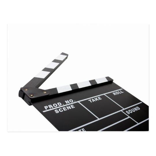 movie clapperboard, action! postcard