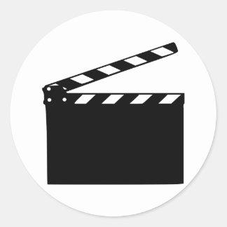 Movie - clapperboard classic round sticker
