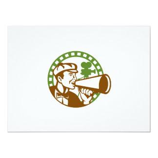 Movie Director Bullhorn Vintage Movie Camera Retro 6.5x8.75 Paper Invitation Card