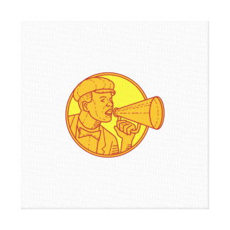Movie Director Megaphone Vintage Circle Mono Line Canvas Print