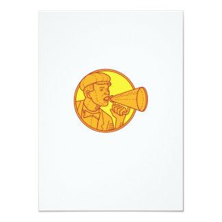 Movie Director Megaphone Vintage Circle Mono Line Card