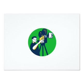 Movie Director Movie Film Camera Circle Retro 6.5x8.75 Paper Invitation Card