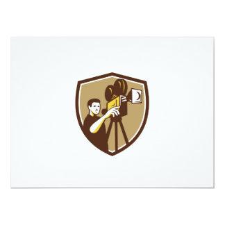 Movie Director Movie Film Camera Shield Retro 6.5x8.75 Paper Invitation Card