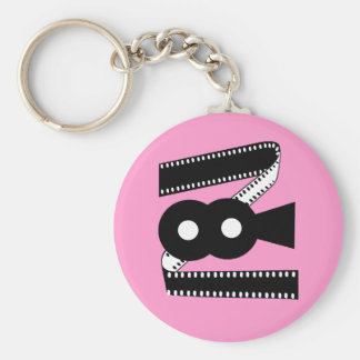 Movie Film Camera - Motion Picture Film Basic Round Button Keychain
