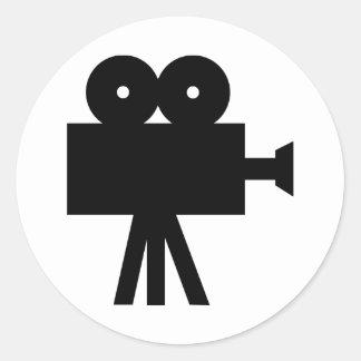Movie Film Cine Camera Hollywood Round Stickers