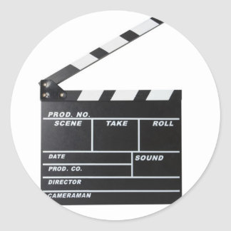 movie film clapperboard classic round sticker