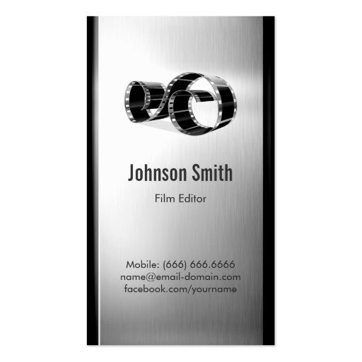 Movie Film Editor - Brushed Stainless Steel Metal Business Card Templates