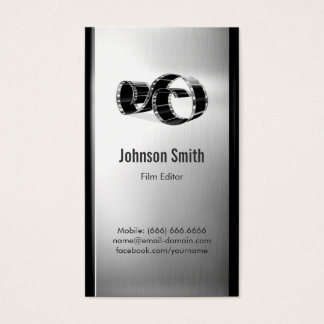 Movie Film Editor - Brushed Stainless Steel Metal Business Card