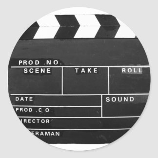 movie film video makers Clapper board design Classic Round Sticker