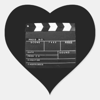 movie film video makers Clapper board design Heart Sticker