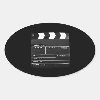 movie film video makers Clapper board design Oval Sticker