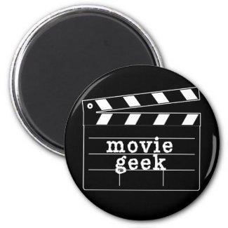 Movie Geek with Clapboard 2 Inch Round Magnet