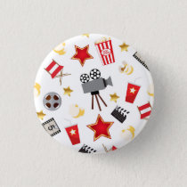 Movie Lover Pattern Pinback Button