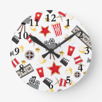 Movie Lover Pattern Round Clock