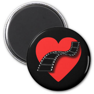 Movie Lover with Red Heart and Film Strip 2 Inch Round Magnet
