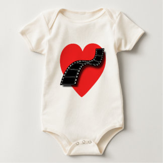 Movie Lover with Red Heart and Film Strip Baby Bodysuit