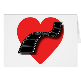 Movie Lover with Red Heart and Film Strip Card