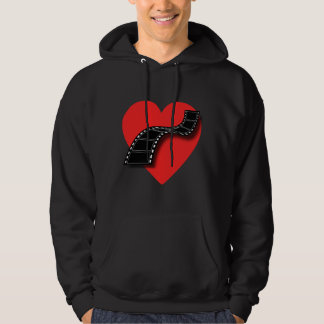 Movie Lover with Red Heart and Film Strip Hoodie