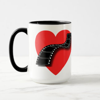 Movie Lover with Red Heart and Film Strip Mug