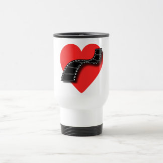 Movie Lover with Red Heart and Film Strip Travel Mug