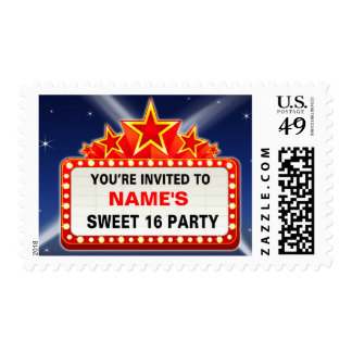 Movie Marquee & Lights Sweet 16 - Customizable Stamp
