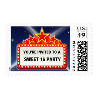 Movie Marquee & Lights Sweet 16 Party Postage Stamp