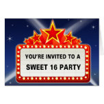 Movie Marquee & Lights Sweet 16Party Greeting Card