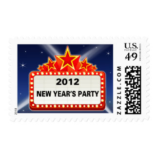 Movie Marquee New Year's Party 2012 Postage Stamps