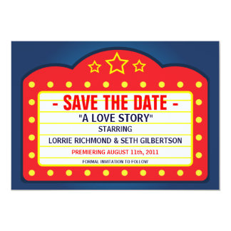 """Movie Marquee Theater  Save the Date Announcement 5"""" X 7"""" Invitation Card"""