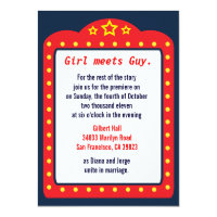 Movie Marquee Theater Wedding Invitation