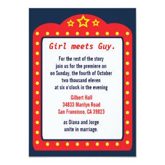 """Movie Marquee Theater Wedding Invitation 4.5"""" X 6.25"""" Invitation Card"""