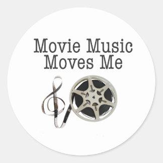 Movie Music Moves Me Classic Round Sticker