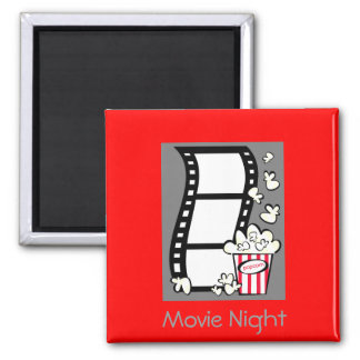 Movie Night 2 Inch Square Magnet