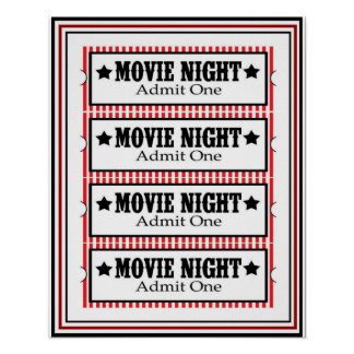 Movie Night Admit One Poster 16 x 20