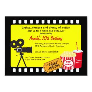 Movie Night and Sleepover Birthday 5x7 Paper Invitation Card
