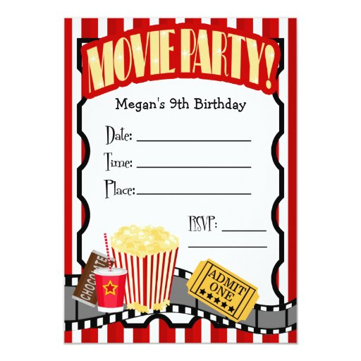 MOVIE NIGHT ANY OCCASION FILL-IN PARTY 5X7 PAPER INVITATION CARD
