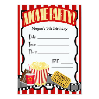 MOVIE NIGHT ANY OCCASION FILL-IN PARTY CUSTOM INVITE
