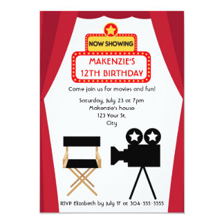 Movie Night Birthday 5x7 Paper Invitation Card
