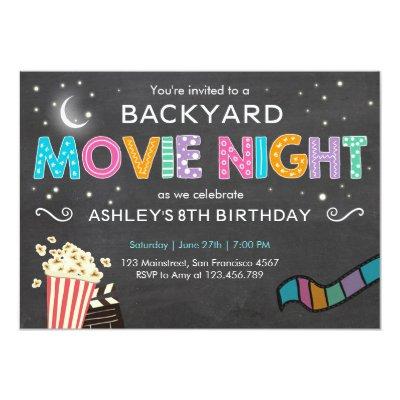 Movie Night Birthday Invitation Under The Stars | Zazzle.com