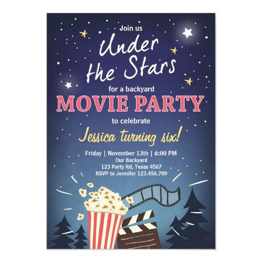 movie night birthday invitation under the stars zazzle com