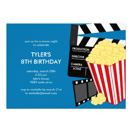 Personalized Movie birthday party Invitations – Movie Themed Party Invitations
