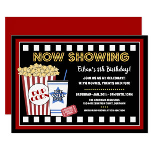 Movie night invitations announcements zazzle movie night birthday party invitation filmwisefo