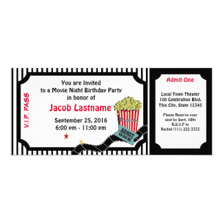 Movie Night Birthday Ticket Card