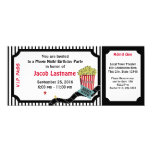Movie Night Birthday Ticket 4x9.25 Paper Invitation Card